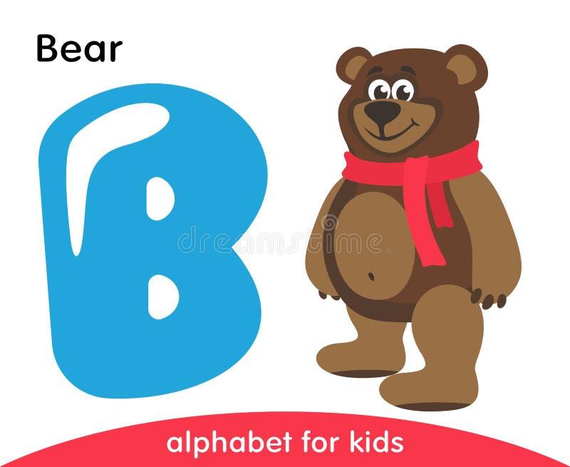 Letra azul B e urso marrom ilustração stock