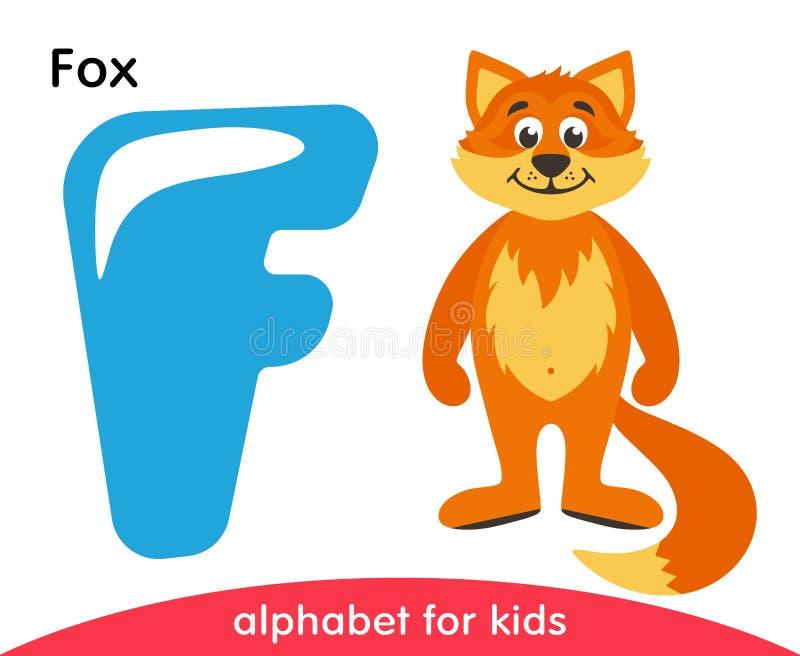 Letra azul F e Fox alaranjado ilustração do vetor