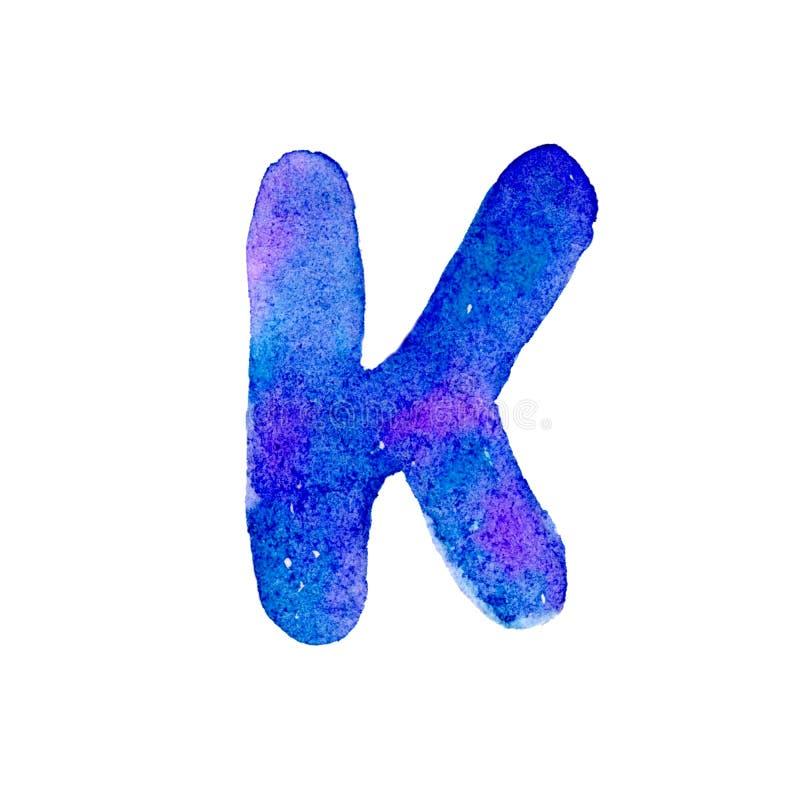 Letra azul y violeta K de la acuarela ilustración del vector