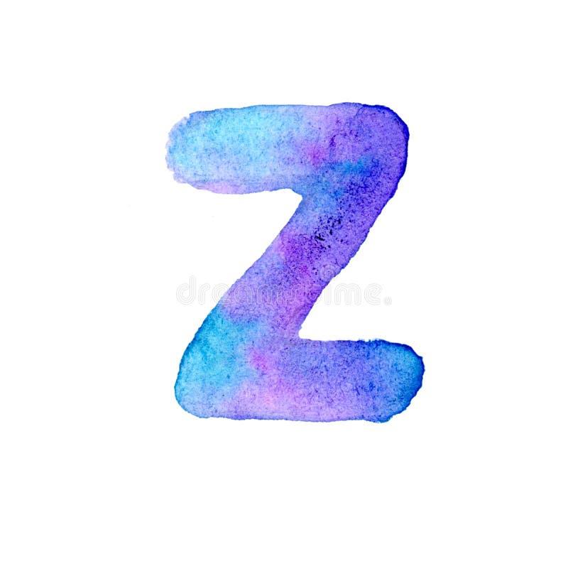 Letra azul y violeta Z de la acuarela stock de ilustración