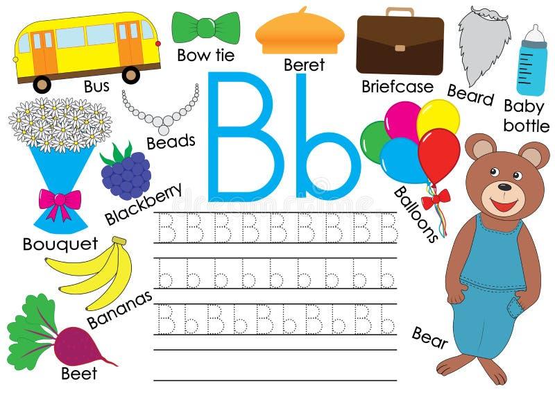 Letra B Alfabeto inglés Práctica de la escritura para los niños Embroma el juego ilustración del vector