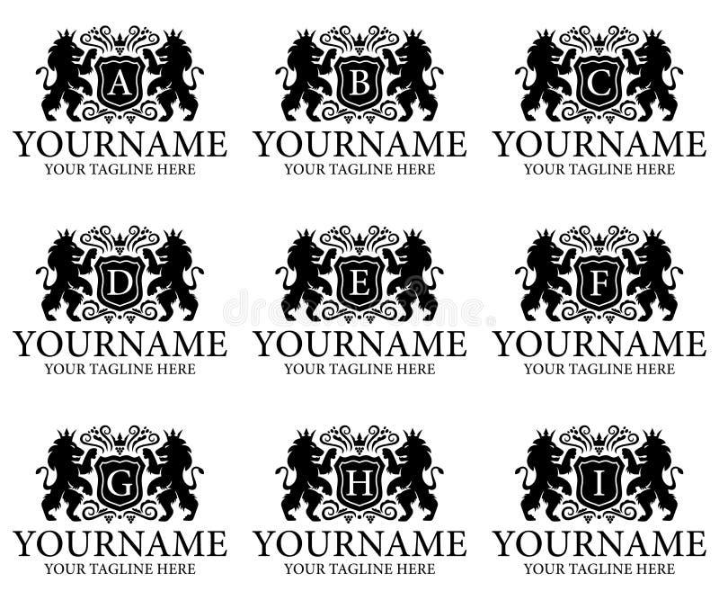 Letra A, B, C, D, E, F, G, H, I y cresta, león con la corona y escudo, diseño de la heráldica del logotipo Animal, naturaleza, pl libre illustration