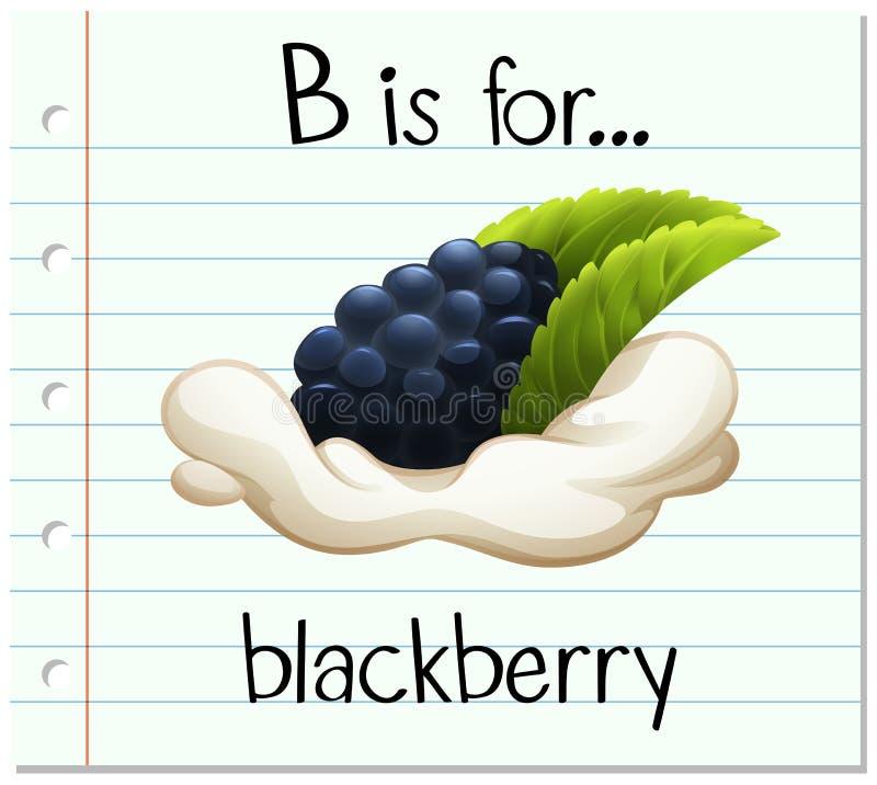 A letra B de Flashcard é para a amora-preta ilustração royalty free