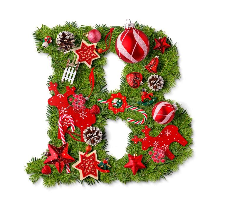 Letra B del alfabeto de la Navidad imágenes de archivo libres de regalías