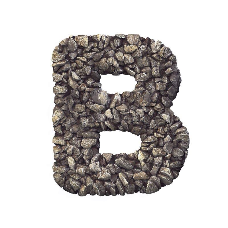 Letra B do cascalho - 3d principal esmagou a fonte da rocha - natureza, ambiente, materiais de construção ou conceito dos bens im ilustração do vetor