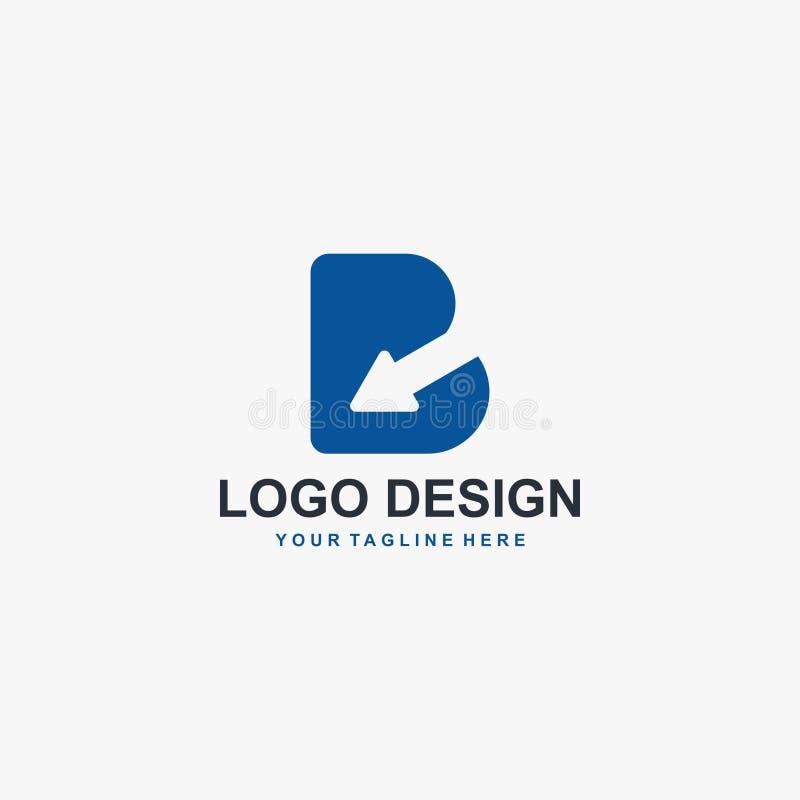 Letra B e vetor do projeto do logotipo da seta Projeto abstrato do logotipo Tipo logotipo para o negócio ilustração stock
