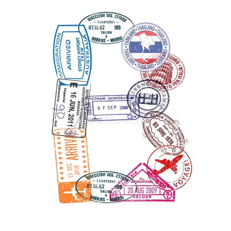 A letra B feita do passaporte internacional carimba em um fundo branco Isolado ilustração stock