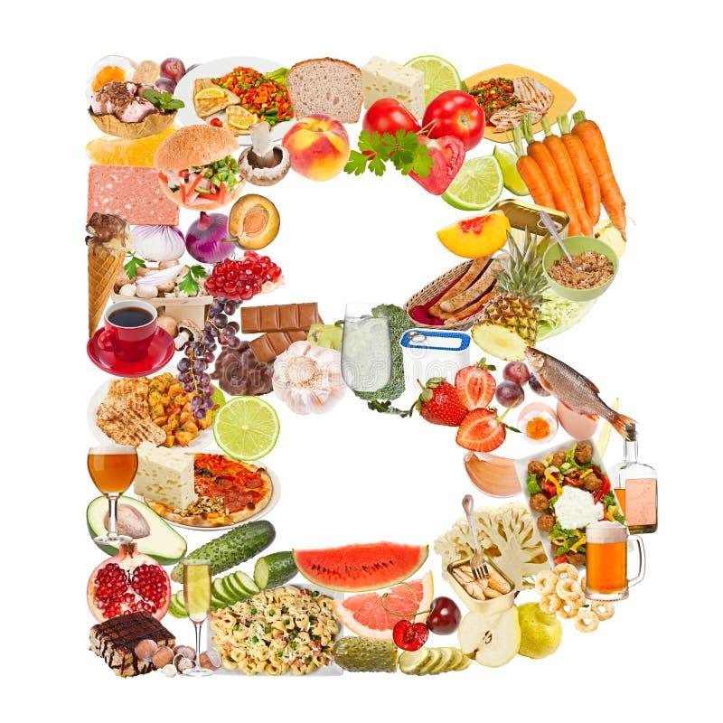 Letra B hecha del alimento foto de archivo
