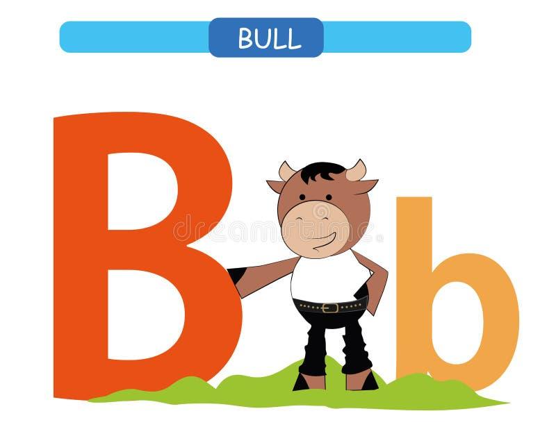Letra B y toro divertido de la historieta A-z del alfabeto de los animales Alfabeto lindo del parque zoológico en el vector para  stock de ilustración