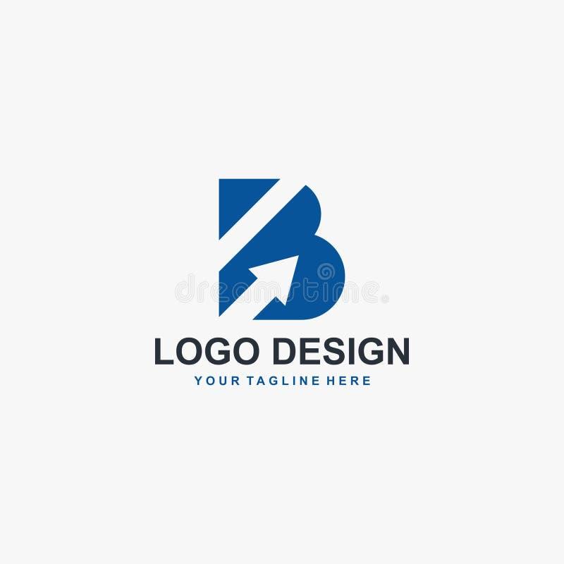 Letra B y vector del diseño del logotipo de la flecha Diseño abstracto de la insignia Tipo logotipo para el negocio ilustración del vector