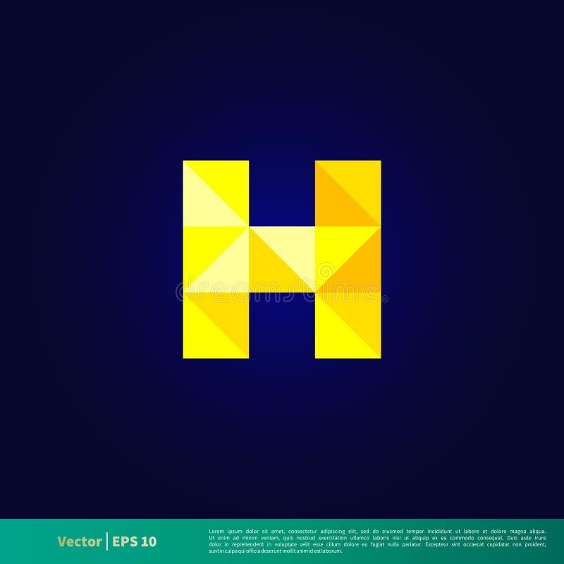 Letra baixo Logo Template Illustration Design geométrico poli de H Vetor EPS 10 ilustração stock