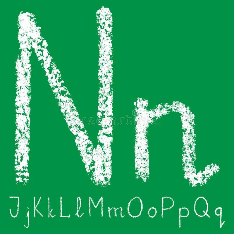 Letra branca escrita à mão do giz com camadas transparentes no fundo verde ilustração royalty free