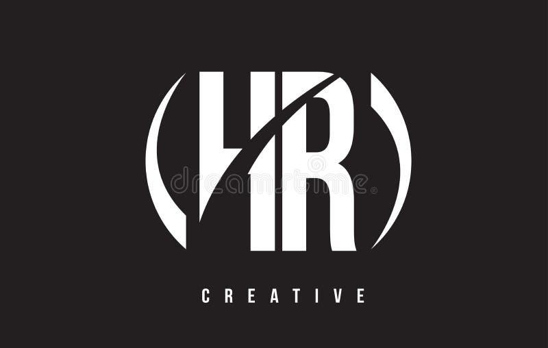 Letra branca Logo Design da hora H R com fundo preto ilustração stock