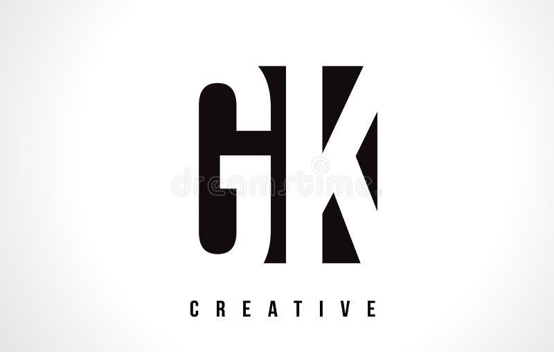 Letra branca Logo Design de GK G K com quadrado preto ilustração royalty free