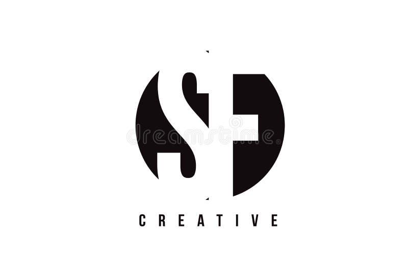 Letra branca Logo Design de SF S F com fundo do círculo ilustração stock