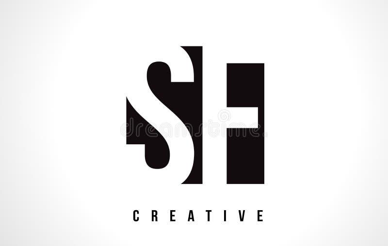 Letra branca Logo Design de SF S F com quadrado preto ilustração royalty free