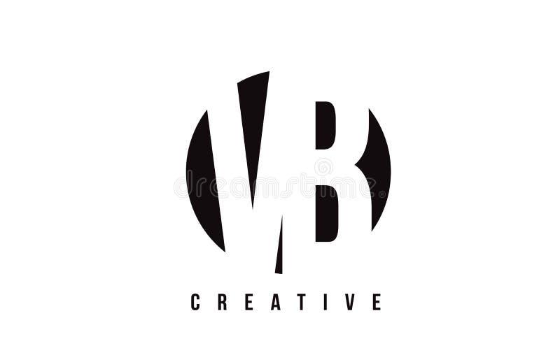 Letra branca Logo Design de VB V B com fundo do círculo ilustração do vetor