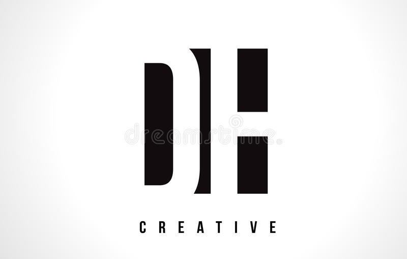 Letra branca Logo Design do AO D H com quadrado preto ilustração stock
