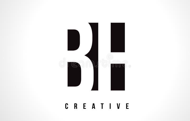 Letra branca Logo Design do BH B H com quadrado preto ilustração stock