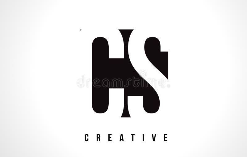 Letra branca Logo Design do CS C S com quadrado preto ilustração stock