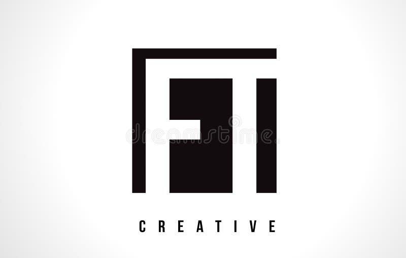 Letra branca Logo Design do FT F T com quadrado preto ilustração stock
