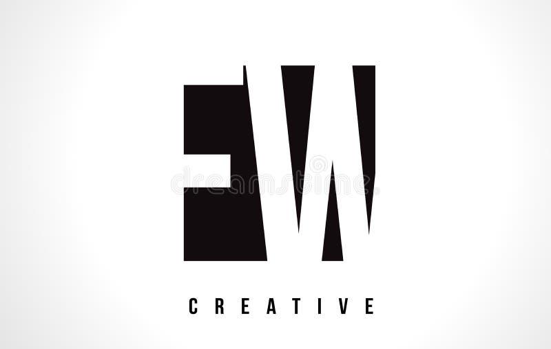 Letra branca Logo Design do FW F W com quadrado preto ilustração stock