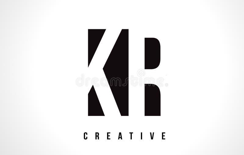 Letra branca Logo Design do KR K R com quadrado preto ilustração do vetor