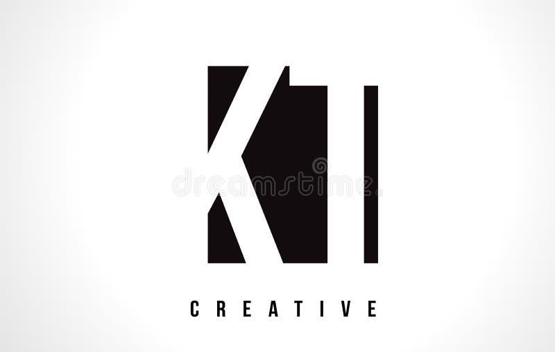Letra branca Logo Design do KT K T com quadrado preto ilustração stock