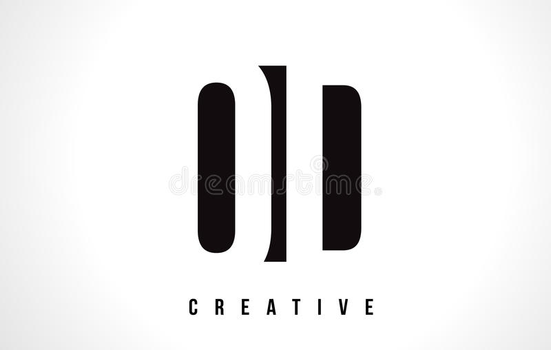 Letra branca Logo Design do OD O D com quadrado preto ilustração royalty free