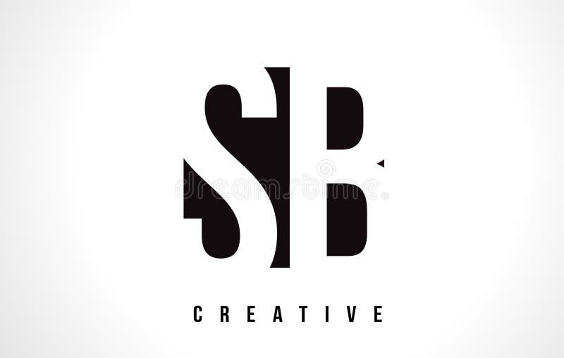 Letra branca Logo Design do SB S B com quadrado preto ilustração stock
