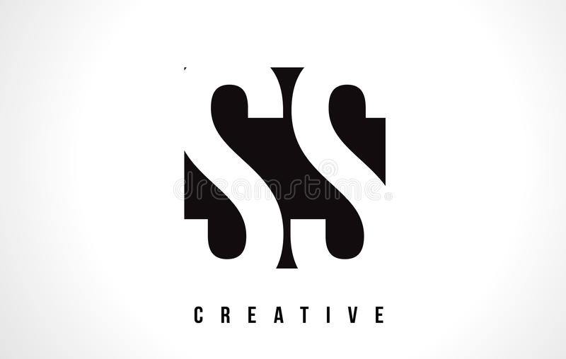 Letra branca Logo Design dos SS S S com quadrado preto ilustração royalty free
