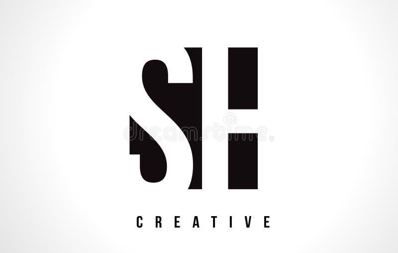 Letra branca SH Logo Design de S H com quadrado preto ilustração do vetor