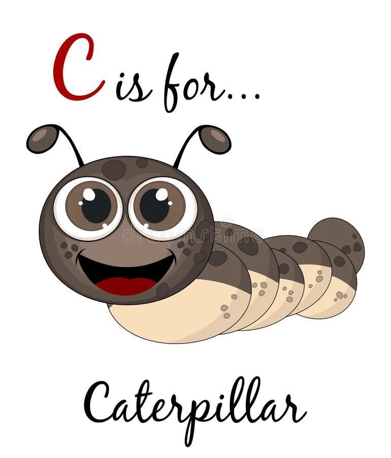 A letra C é para o cartão da lagarta Cartão educacional ilustração stock