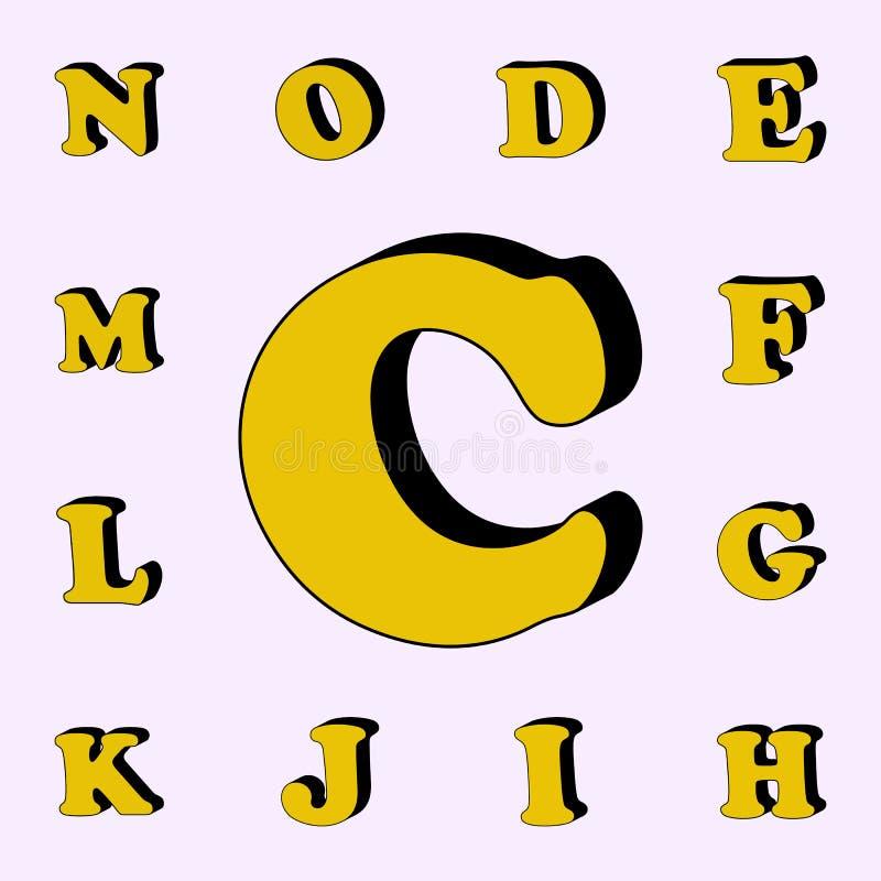 letra C, alfabeto, ícone 3D grupo universal dos ícones das palavras 3D para a Web e o móbil ilustração do vetor