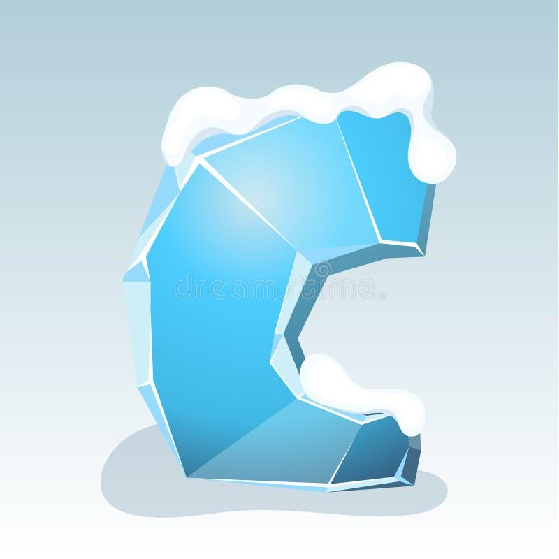 Letra C del hielo stock de ilustración