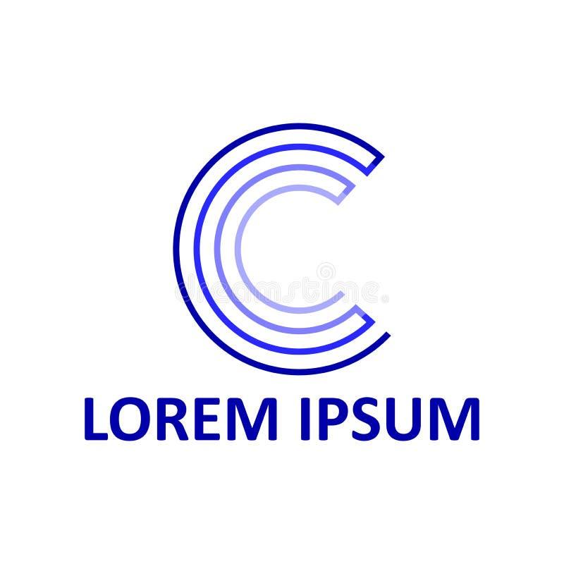 Letra C Insignia abstracta Ejemplo linear Vector stock de ilustración