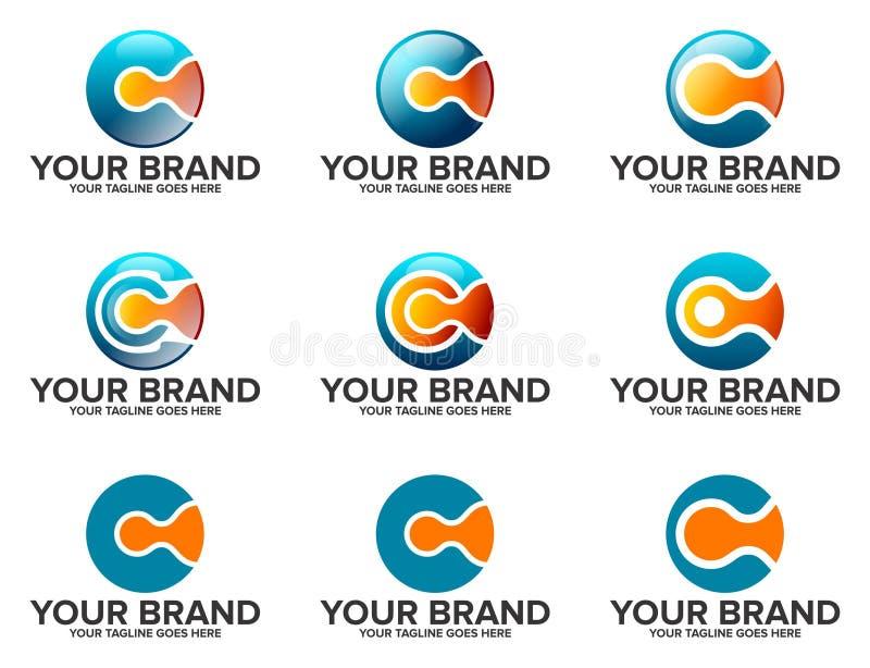 LETRA C LogoSet redondo imagem de stock royalty free