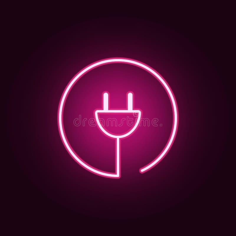 letra C no ícone de néon redondo Elementos do grupo da Web ?cone simples para Web site, design web, app m?vel, gr?ficos da inform ilustração royalty free