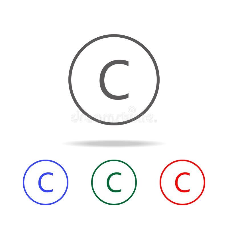 letra C no ícone redondo Elementos em multi ícones coloridos para apps móveis do conceito e da Web Ícones para o projeto e o dese ilustração stock