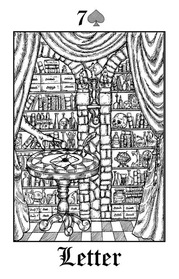 letra Cartão de tarô da plataforma gótico do oráculo dos mistérios de Lenormand do vetor ilustração royalty free