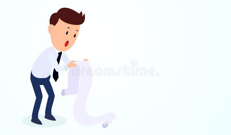 Letra chocada homem de negócios do débito da posse ilustração stock