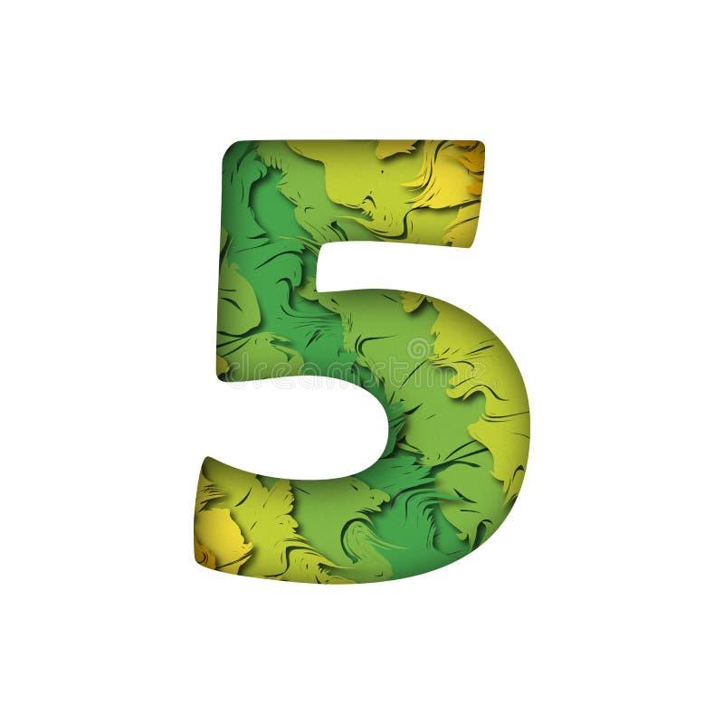 Letra cinco verde na moda do número 5 do papercut imagem de stock royalty free