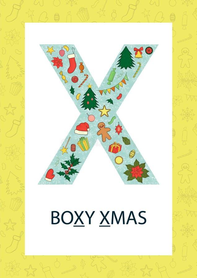 Letra colorida X do alfabeto Flashcard de ABC ilustração royalty free