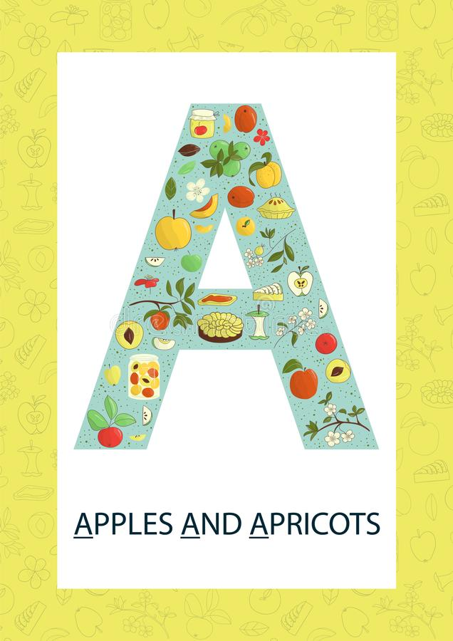 Letra colorida A do alfabeto Flashcard de ABC ilustração royalty free
