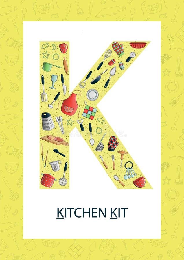 Letra colorida K do alfabeto Flashcard de ABC ilustração royalty free