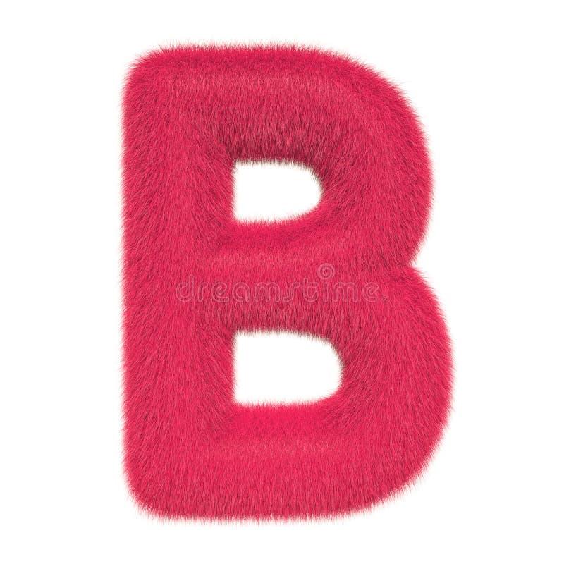 Letra colorida, macia, peludo B rendi??o 3d ilustração do vetor
