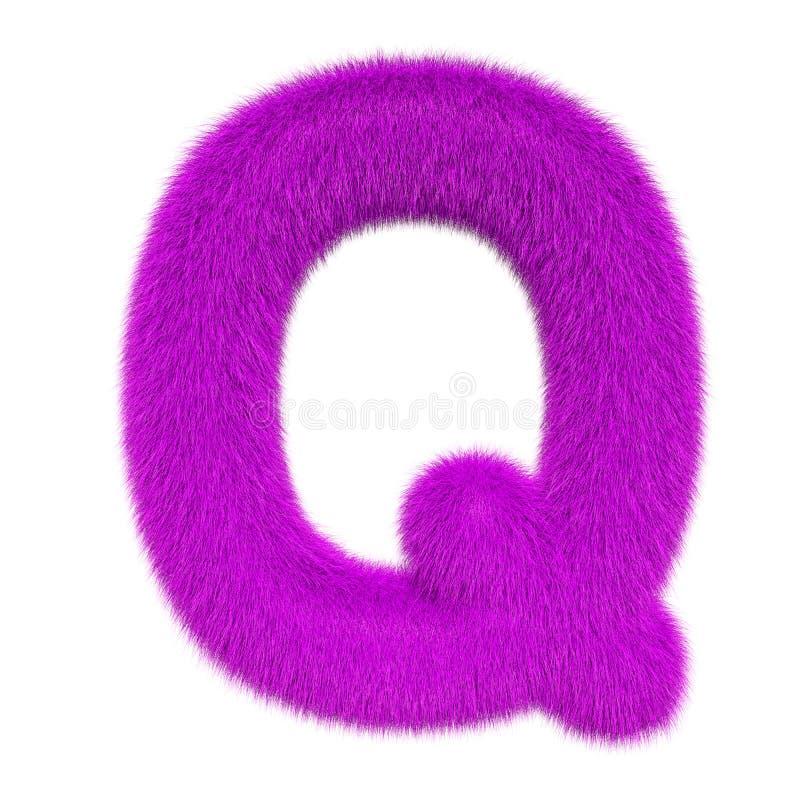 Letra colorida, macia, peludo Q rendi??o 3d ilustração do vetor