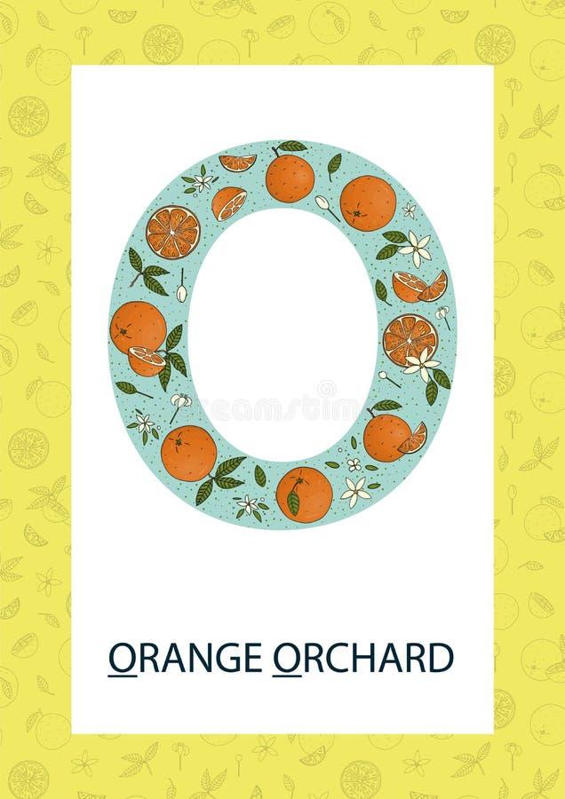Letra colorida O do alfabeto Flashcard de ABC ilustração royalty free