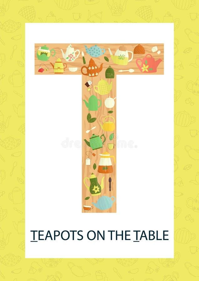 Letra colorida T do alfabeto Flashcard de ABC ilustração royalty free