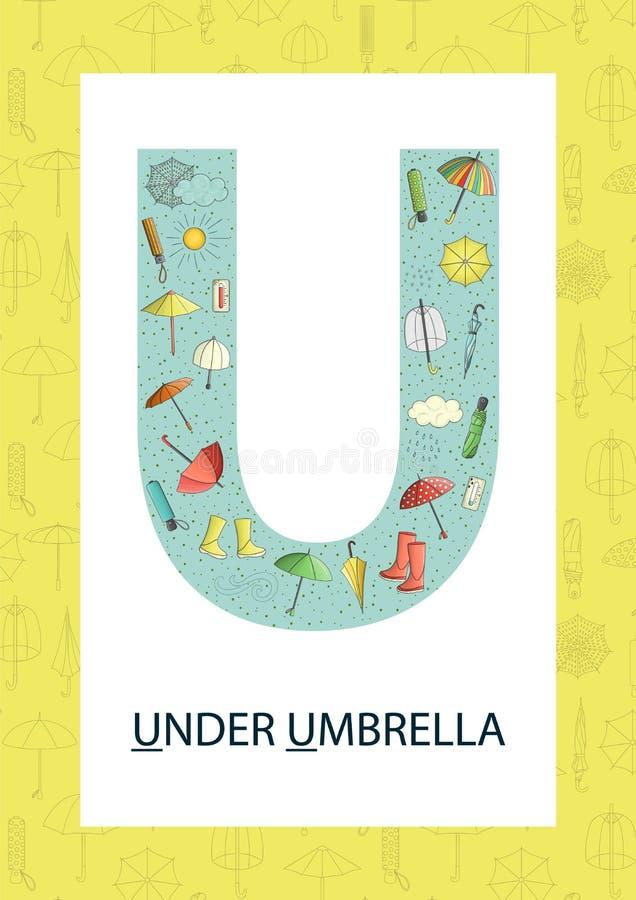 Letra colorida U do alfabeto Flashcard de ABC ilustração stock